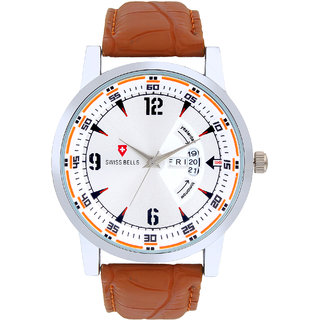 Svviss Bells Original White Dial Tan Brown Leather Strap Day and Date Multifunction Chronograph Wrist Watch for Men - SB-1033