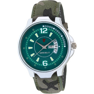 Svviss Bells Original Green Dial Green Leather Strap Day and Date Multifunction Chronograph Wrist Watch for Men - SB-1034