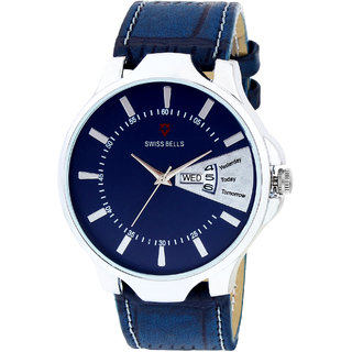 Svviss Bells Original Blue Dial Blue Leather Strap Day and Date Multifunction Chronograph Wrist Watch for Men - SB-1039