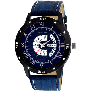 Svviss Bells Original Blue Dial Blue Leather Strap Day and Date Multifunction Chronograph Wrist Watch for Men - SB-1040