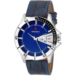 Svviss Bells Original Blue Dial Blue Leather Strap Day and Date Multifunction Chronograph Wrist Watch for Men - SB-1044