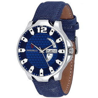 Svviss Bells Original Blue Dial Blue Leather Strap Day and Date Multifunction Chronograph Wrist Watch for Men - SB-1046