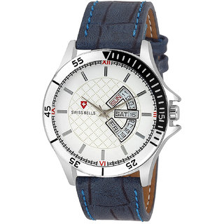 Svviss Bells Original White Dial Blue Leather Strap Day and Date Multifunction Chronograph Wrist Watch for Men - SB-1048