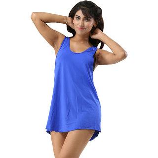 Trendy Solid Blue Colour Swimwear Bikini Cover Ups Beach Dress For Women