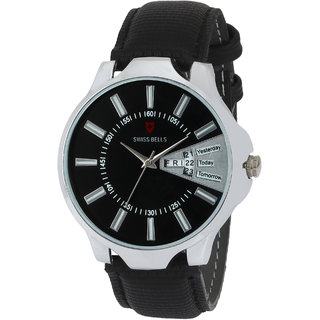 Svviss Bells Original Black Dial Black Leather Strap Day and Date Multifunction Chronograph Wrist Watch for Men - SB-1054