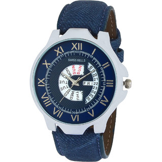 Svviss Bells Original Blue Dial Blue Leather Strap Day and Date Multifunction Chronograph Wrist Watch for Men - SB-1055