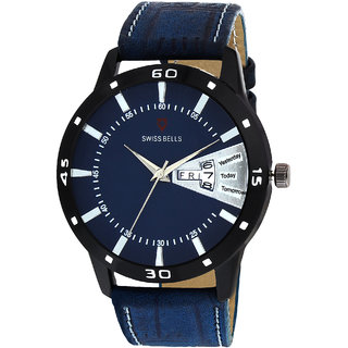 Svviss Bells Original Blue Dial Blue Leather Strap Day and Date Multifunction Chronograph Wrist Watch for Men - SB-1056