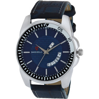 Svviss Bells Original Blue Dial Blue Leather Strap Day and Date Multifunction Chronograph Wrist Watch for Men - SB-1058