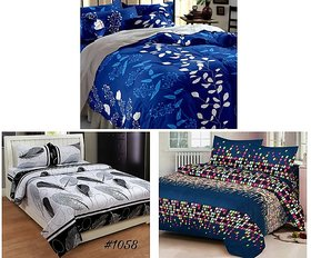 Z decor Polycotton Double Bedsheet with 6 Pillow Cover (Set of 3)