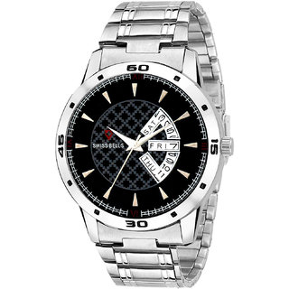 bb619c212d02 Buy Svviss Bells Original Black Dial Silver Steel Chain Day and Date  Multifunction Chronograph Wrist Watch for Men - SB-1076 Online - Get 82% Off