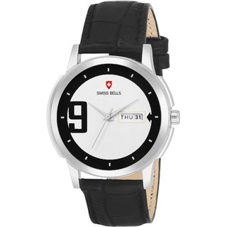 Svviss Bells Premium Silver Sports Dial Black Leather Strap Day and Date Multifunction Chronograph Wrist Watch for Men - SB-1086
