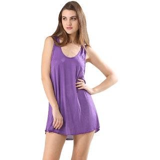 Trendy Solid Purple Colour Swimwear Bikini Cover Ups Beach Dress For Women