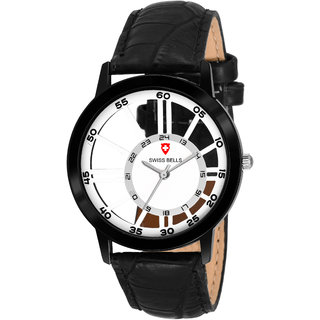 Svviss Bells Premium White Dial Black Leather Strap High Quality See Through Analog Wrist Watch for Men - SB-1094