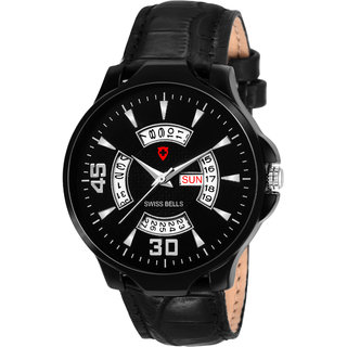 Svviss Bells Original Black Dial Black Strap Day and Date Multifunction Chronograph Watch for Men - SB-1096