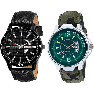 Svviss Bells Day and Date Display Pack of 2 Chronograph Multicolour Dial Wrist Watches - TA-1115