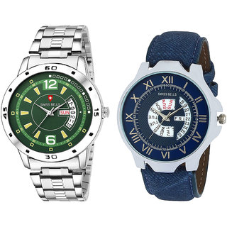 Svviss Bells Day and Date Display Pack of 2 Chronograph Multicolour Dial Wrist Watches - TA-1119