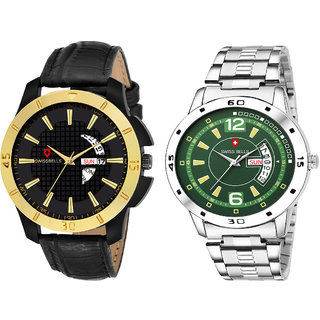 Svviss Bells Day and Date Display Pack of 2 Chronograph Multicolour Dial Wrist Watches - TA-1124