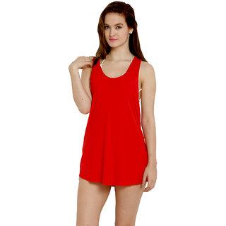 Trendy Solid Red Colour Swimwear Bikini Cover Ups Beach Dress For Women