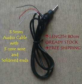 5pcs of 3.5mm Male Stereo Audio Cable, 3 Core Wire, Soldered Ends, DIY Amplifier