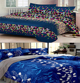 z decor polycotton double bed sheet, set of 2 with 4 pillow cover (dot,b.patti)