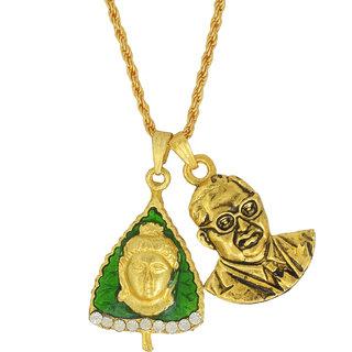 Memoir Gold plated Brass Ashok leaf Budha Head and Babasaheb Bhimrao Ambedkar chain pendant necklace for Men Women