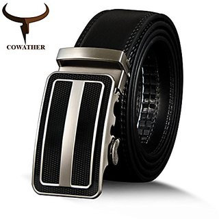 Akruti COWATHER New Arrival Belt For Men Cow Genuine Leather Business Men Belts Metal Automatic Buckle Male Strap Brown Black Strap