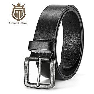 Akruti New 100% genuine leather belts for men luxury first layer 38mm wide cowhide men belt vintage metal buckle (Black)