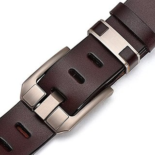 Akruti DINISITON Genuine Leather Belts for Men Fashion Jeans Belt High Quality Retro Pin Buckle Male Strap Cintos Masculinos XJY006 (Synthetic leather/Rexine)