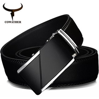 "Akruti COWATHER COW genuine Leather Belts for Men High Quality Male Brand Automatic Ratchet Buckle belt 1.25"" 35mm Wide 110-130cm long (Synthetic leather/Rexine)"