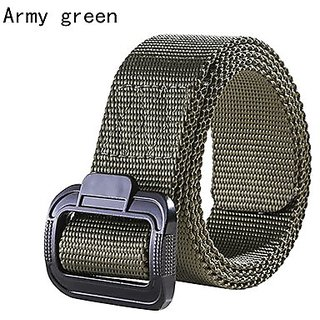 Akruti Mens Nylon Belt Knitted Military Belt Tactical Inner Army Style Belt Smooth Buckle 3.8 Cm Width