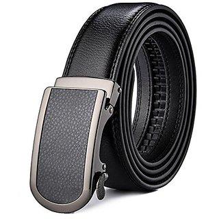 Akruti Plyesxale Genuine Leather Belt Men 35mm Wide Luxury Automatic Buckle Ratchet Dress Belt for Man Black 2018 ceinture homme B47 (Synthetic leather/Rexine)