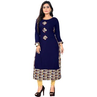 Vaikunth Fabrics Solid,Printed Kurti in Blue color and Rayon fabric for womens VF-KU-164