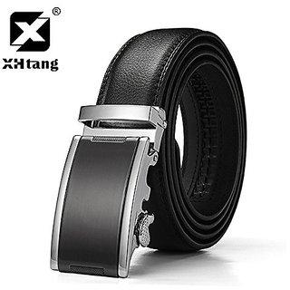 Akruti XHTANG Genuine Leather Ratchet Belt 3.5cm Mens Automatic Buckle Belt Elegant Black Strap for Jeans 2017 Hot Design Belt for Men (Synthetic leather/Rexine)