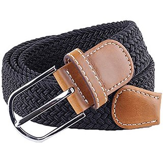 Akruti Women Men Male Thicken Canvas Belt Military Tactical Strap Knitted Jeans Casual Pant Woven Buckle Elastic Metal Buckle
