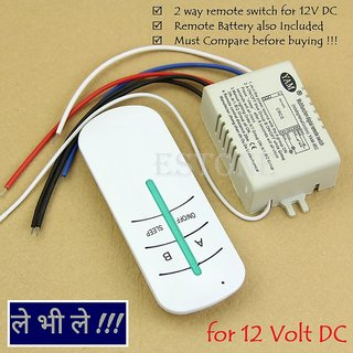 E24 RF Remote Control 2 Way Channel Switch Transmitter Receiver for DC 12V Volts