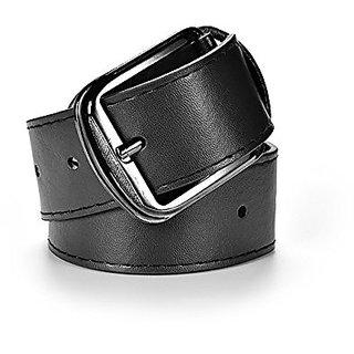 Akruti Mens Belt Black Leather Metal Buckle Casual Belts for Men Pu Leather Mens Waist Belt