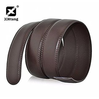 Akruti XHtang Luxury Brand Belt for Men Brown Leather Ratchet Strap 3.5cm Width Waistband Leather Buckle Belt for Jeans Male Gift
