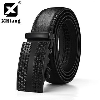 Akruti XHTANG Mens Genuine Leather Ratchet Belt Automatic Buckle Belt 3.5 cm Black Strap Jeans Gift Elegant Belt for Men Business (Synthetic leather/Rexine)