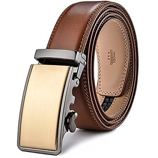 Akruti Plyesxale Leather Belt Men 2018 Gold Luxury Belts Men High Quality Brown Cowskin Belt Casual Automatic Buckle Waistband B56 (Synthetic leather/Rexine)