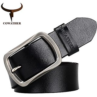 Akruti COWATHER brand classic mens cow genuine leather male dress pin buckle strap fashion adjustable black brown coffee gift wrap (Synthetic leather/Rexine)