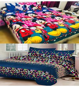 Pack Of 2 Z Decor Polycotton Multicolor Double Bedsheet with 4 pillow cover