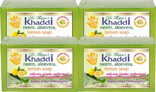 Khadi Soap with Glycerin (Premium Brand) with Neem, Alovera  Tulsi By Dr. Thapar  Buy 3 Get 4 (125 Grams Each )