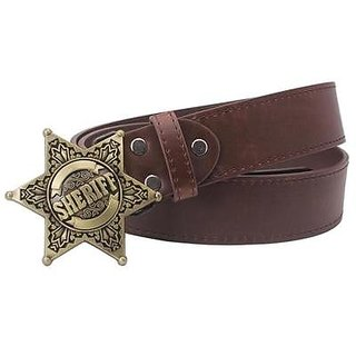 Akruti Fashion Mens belt metal buckle belts Sheriff badge Retro Hexagon star sign western style cowboy Pu leather belt