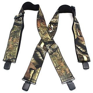 Akruti Camouflage Print Elastic Suspenders Male Tactical Belt X Shape 4 Gun Black Clips-on Suspenders Bretelles 120cm length MBD8464