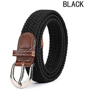 Akruti Fashion Women Men Belt Top Quality 2.5 Cm Wide Woven Stretch Braided Elastic Leather Buckle Luxury Canvas Belts