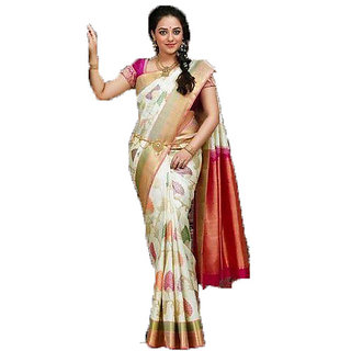 64036b4d9d Best Deal Banarasi silk Saree Festival And Casual Wear For Women Printed  Saree With Untitched Blouse peice (Multicolored)