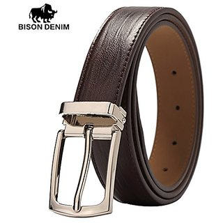 Akruti BISON DENIM Mens Belt Genuine Leather Belts Pin Buckle Casual Belt Men BROWN COFFEE Cowskin Leather Strap Belt For Gift W71123 (Synthetic leather/Rexine)