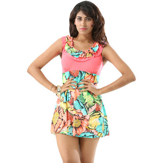 Appealing  Incredible Multi Floral Print  Swim Sexy Cover-Up-Tankini