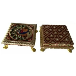chowki / chorang / pooja bajot / gift article / festival decor / antique wear / traditional items / puja item Wooden All Purpose Chowki6 + 6 INCHES(Multicolor, Pack of 2)