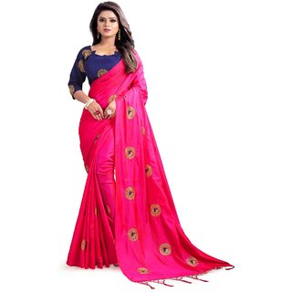 Mastani pink paper silk embroidered party wear saree with matching blue unstitched blouse (31MST103)